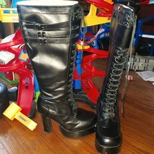 TUK Platform Heeled Combat Boots size 7